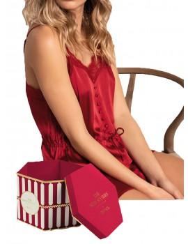 Pijama Lencero Admas Raso Sexy Rojo