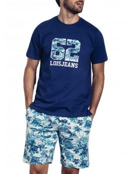 Pijama Lois hombre corto de algodón estampado