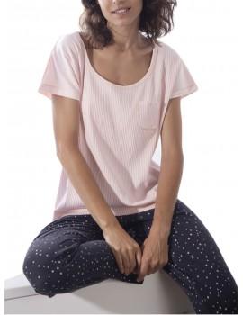 Pijama Admas mujer camiseta corta y pantalón largo de estrellas