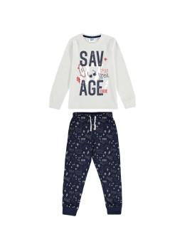 Pijama manga larga de algodón para niños.