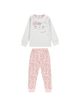 Pijama para niña de algodón de manga larga.
