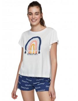 Pijama Mujer Gisela Arco Iris Algodón Verano