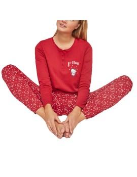 Pijama Mujer Gisela Hello Kitty Rojo Navidad