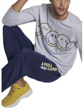 Pijama Smiley Invierno Hombre Bolsillos Puños
