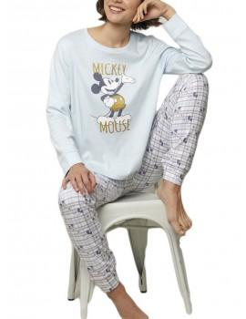 Pijama Disney Mickey Mujer Puños Invierno